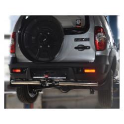 "Защита задняя с разрезом под фаркоп ""Bosal"" d60 Chevrolet-Niva 2009- (эллиптические заглушки)"